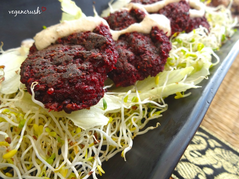 Vegan Beet Pattie with Tahini Sauce1