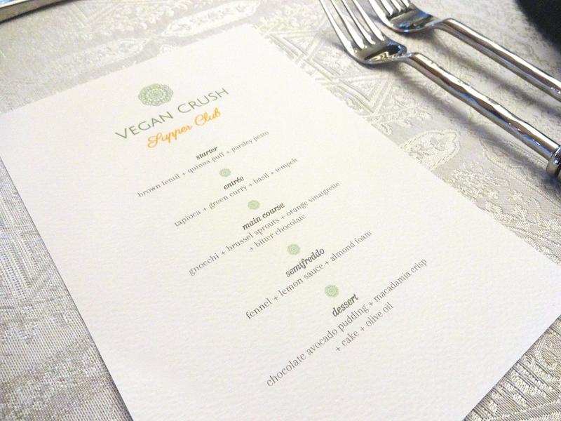 Menu Vegan Crush Dinner Event 16.07.16