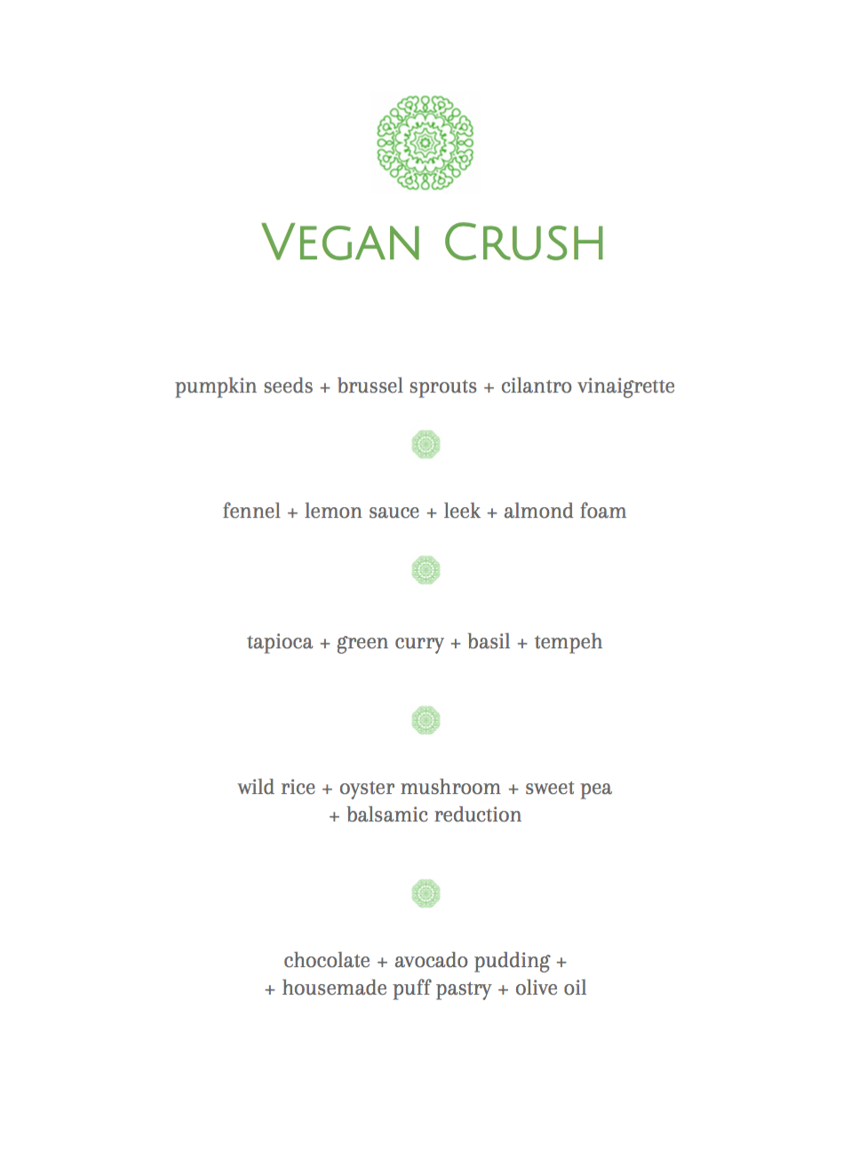 vegan crush 5 courses sample menu