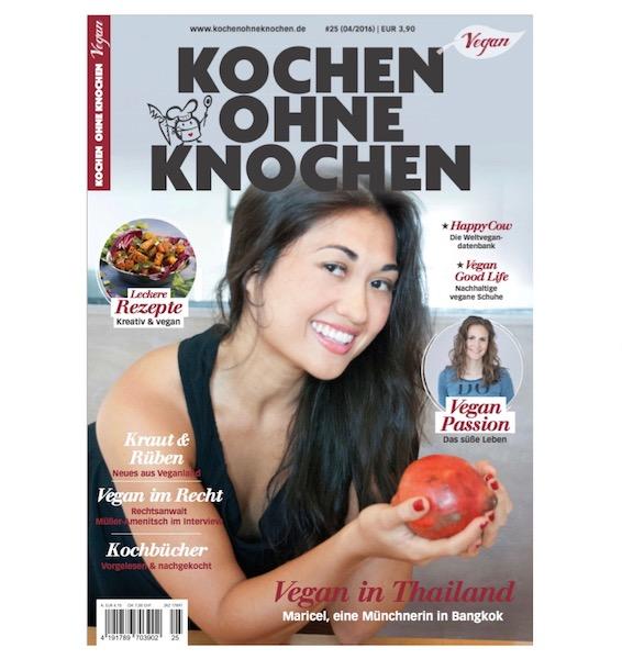 Cover Magazin, Kochen ohne Knochen Magazin, Maricel Lukkanit, Publikation, Frontseite, Covergirl, Vegan Covergirl, Münchnerin, covergirl,