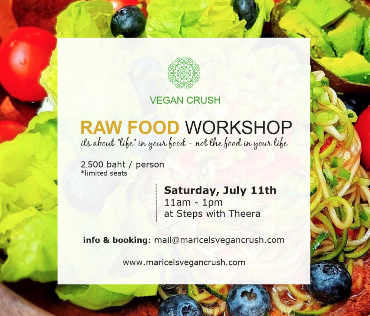 Raw vegan cooking workshop bangkok, thailand